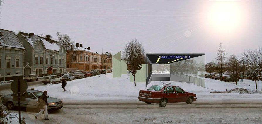Oulun kaupungin teettämä havainnekuva Autorantaan tulevasta kallioparkin rampista.