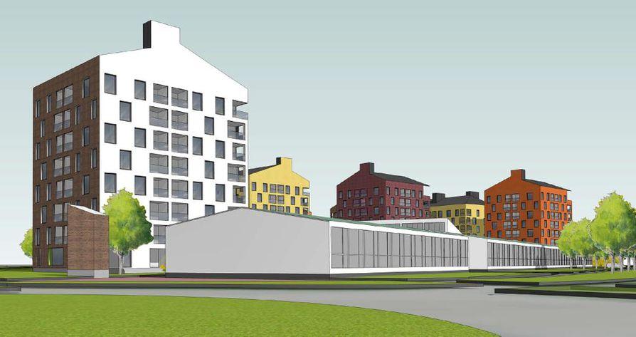 Arkkitehdit M3 Oy:n piirtämässä havainnekuvassa on etualalla Joutsentien liikenneympyrä. Matala rakennus on säilytettävä osa Karjasillan koulua.Kerrostalot ovat uutta kortteliin tulevaa rakennuskantaa.