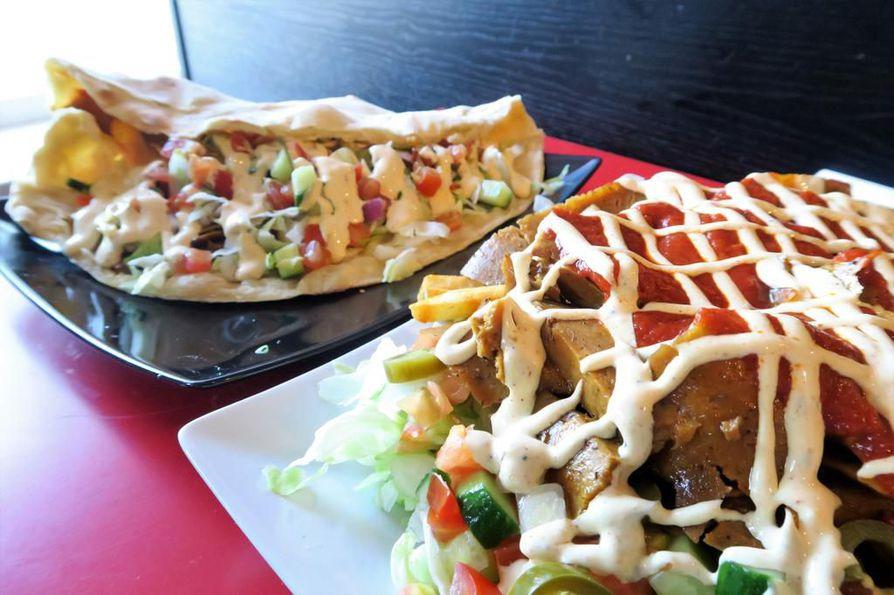 Park Puffetin vöner-kebab tarjoiltiin suurissa annoksissa, joissa kaikki ruoka-aineet ovat vegaanisia.
