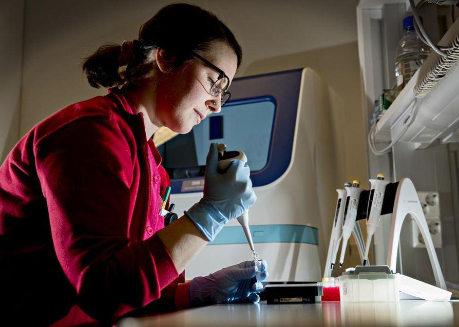 Laboratorionhoitaja Andriana Poulimenos pipetoi potilasnäytettä Nordlabin genetiikan laboratoriossa Oulussa. Laboratorio analysoi muun muassa Oulun yliopistollisen sairaalan perinnöllisyyslääketieteen klinikan teettämiä dna-tutkimuksia. Klinikka teettää paljon tutkimuksia myös muissa laboratorioissa, esimerkiksi muualla EU:n alueella sijaitsevissa kaupallisissa laboratorioissa ja HUSLAB:ssa Helsingissä.