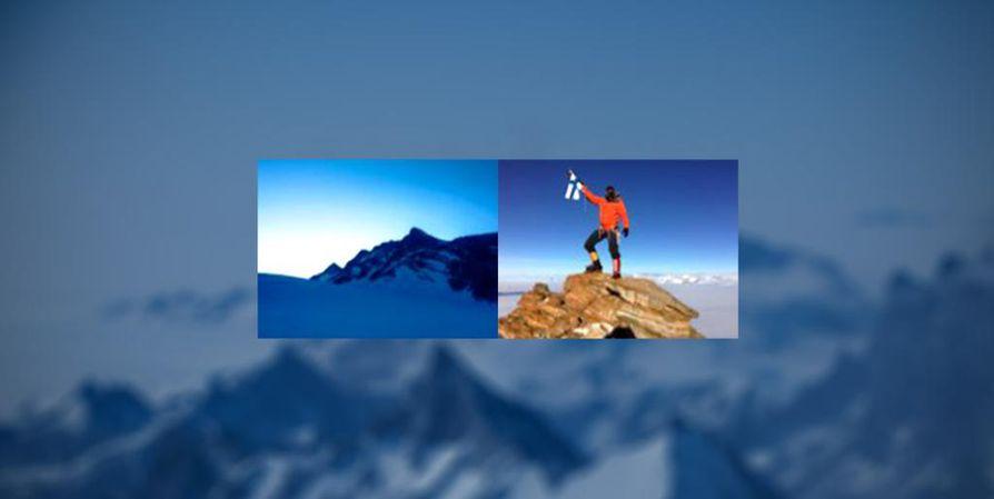 Satelliittipuhelimella otettu kuva Mount Suomen huiputtamisesta.
