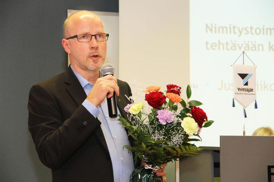 """Jussi Riikonen jatkaa puheenjohtajana seuraavan kaksivuotiskauden.  """"Ensi vuosi on vaalivuosi ja silloin meidän on oltava aktiivisesti kertomassa yrittäjyydestä ja yrittäjien haasteista ehdokkaille"""", Riikonen painottaa."""