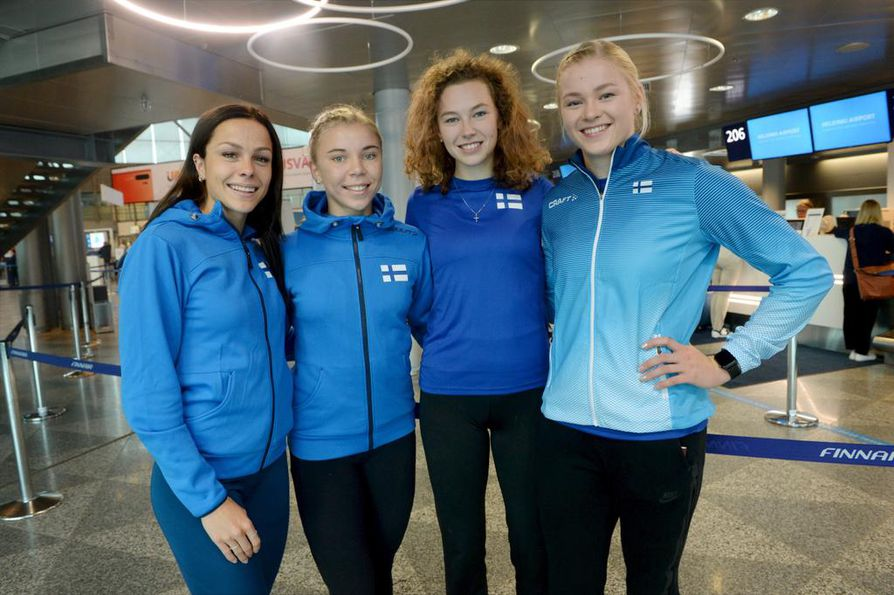 Maria Huntington (vas.), Taika Koilahti, Ella Junnila ja Wilma Murto kilpailevat yleisurheilun 22-vuotiaien EM-kisoissa Gävlessä suurin toivein. Useamman mitalin saalis ei ole mahdottomuus.