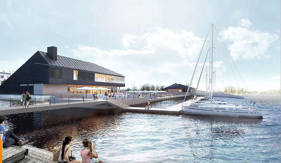 Allas Sea Pool Oulun rakennuksista kaavaillaan puuverhoiltuja. Havainnekuva.