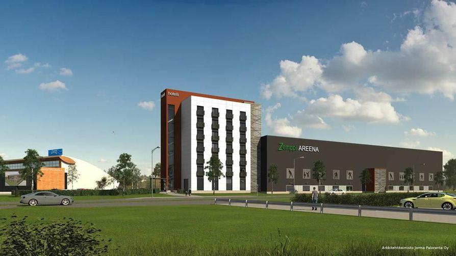Havainnekuva Kempeleeseen suunnitellusta uudesta liikuntakeskuksesta ja huoneistohotellista.