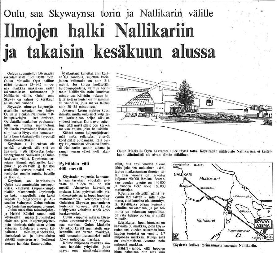 Kaleva uutisoi köysiradasta 30 vuotta sitten 1. syyskuuta 1989.