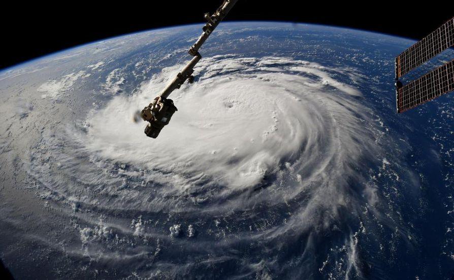 Florence-hurrikaani kuvattuna kansainväliseltä avaruusasemalta. Florence ennakoidaan rantautuvan perjantaiaamuna.