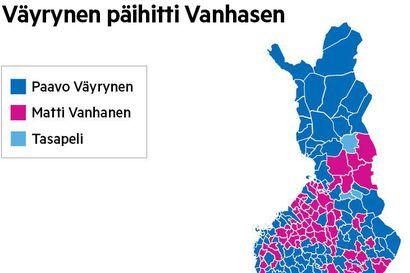 """Katso, miten Matti Vanhasen ja Paavo Väyrysen äänet jakaantuivat presidentinvaaleissa - """"Kiusallista"""", sanoo keskustavaikuttaja"""