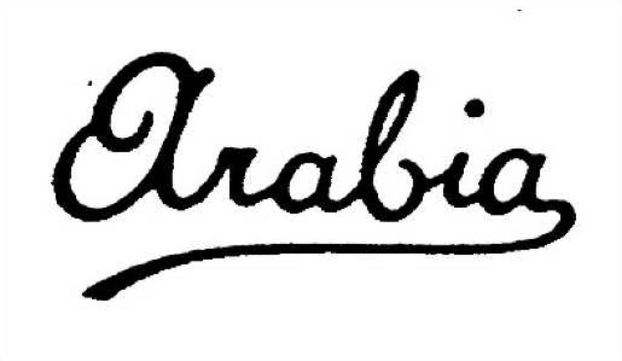 Vuosina 1900-1920 Arabialla oli käytössä kaksi samantapaista Arabia-tekstiä. Toisessa niistä viimeisestä a-kirjaimesta lähtevä sanan alleviivaus oli yksinkertainen, toisessa krumeluurimpi.