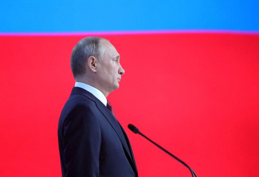 Venäjän presidentin vuotuinen puhe valtion tilasta kesti tänä vuonna puolitoista tuntia.