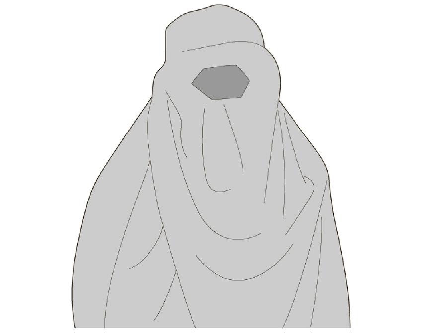 Harvinainen ja äärimmäinen, pääasiassa Afganistanissa, Pakistanissa ja Pohjois-Intiassa käytetty musliminaisten kangasasuste, joka peittää koko vartalon. Silmien kohdalla on verkkoa.