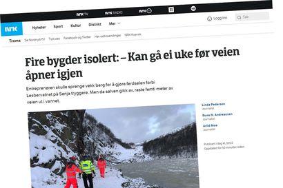 Ainoa tie romahti Senjan saarella Norjassa, hätäreitti moottorikelkoilla