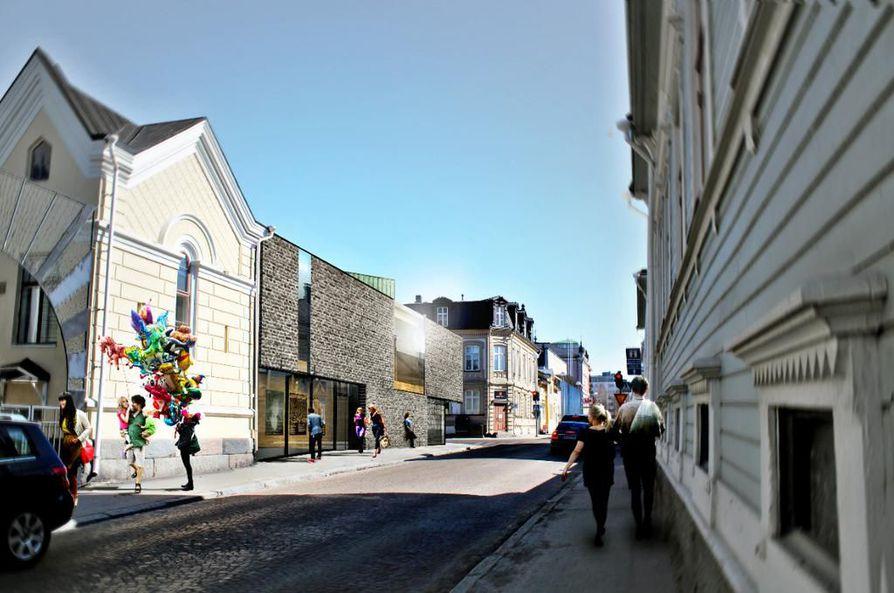 Arkkitehti Paulus Sipilä suunnitteli 2015 diplomityönään kamarimusiikkisalin Ojakatu 2:n takapihalle Aleksanterinkadun ja Hallituskadun kulmaan.
