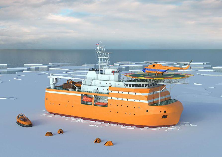 Laivan ja kiinteän tutkimusaseman yhdistelmän on kestettävä suurien jääkenttien voimia, minkä vuoksi keula on muotoiltu pyöreäksi. Havainnekuva.