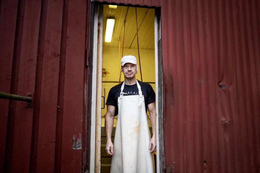 Työntekijä Mika Kujamäki teurasti sikoja tilan omassa teurastamossa.