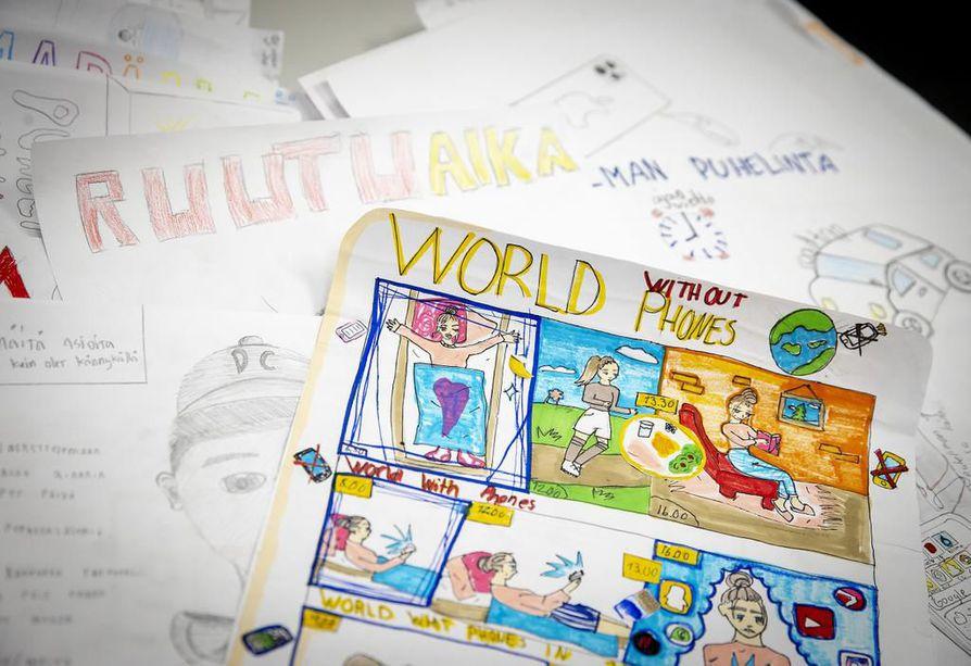 Pitkäkankaan koulun oppilaat piirsivät ja kertoivat omasta unelmien päivästä. Ehdotuksia ja ideoita rajoittaa kännykän käyttöä ja ruutuaikaa tuli yli sata.