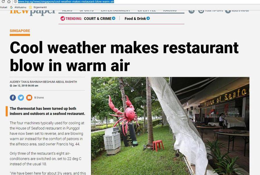 Kylmä sää ja sade ovat ulkoilmaravintoloiden vihollisia.