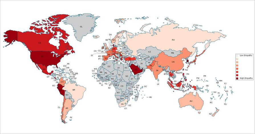 Mitä punaisempi maa kartalla on, sitä empaattisemmiksi asukkaat paljastuivat yhdysvaltalaistutkimuksessa.