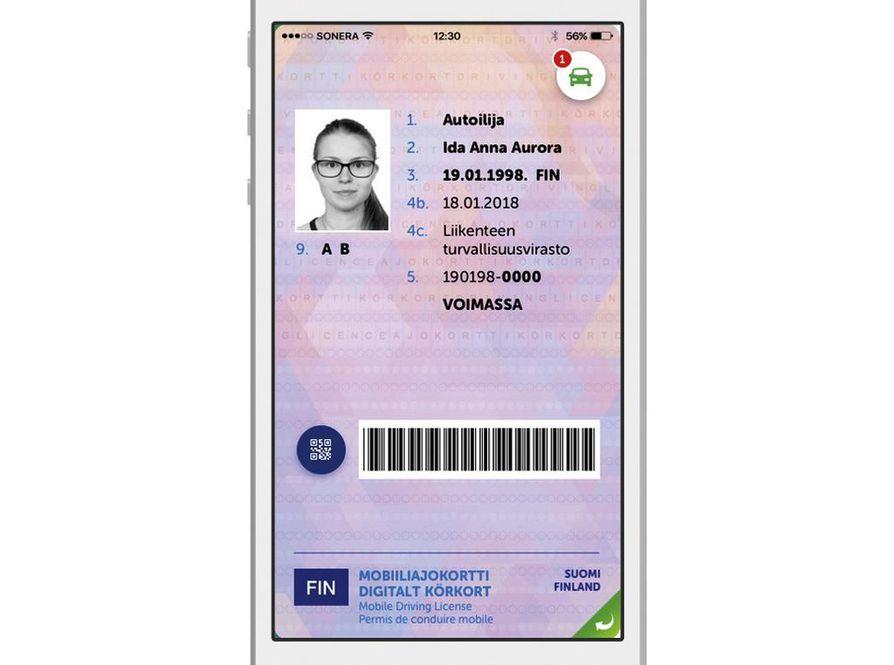 Mobiiliajokortti on toistaiseksi testikäytössä noin 1 500 suomalaisella. Trafin havainnekuva.