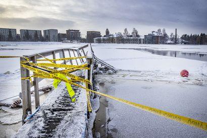 Jäät murjoivat uimalaituria pumppuineen helmikuun lopulla – Kysyimme, milloin Oulun Tuiran talviuintipaikalle saadaan uusi laituri