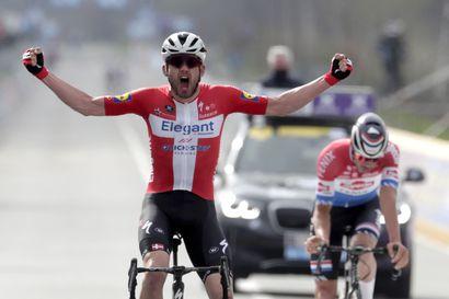 Kolme huippupyöräilijää hylättiin Flanderin ympäriajossa – Tanskan Asgreen juhli voittoa