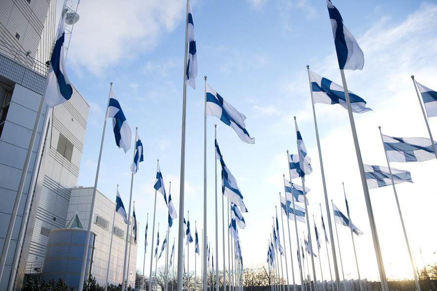 Tänään liputetaan itsenäisyyspäivän kunniaksi. Tampere-talon edessä liputettiin Suomen itsenäisyyspäivänä vuonna 2013.