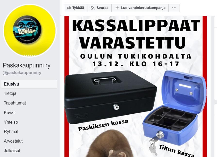 Yhdistys julkaisi anastetuista lippaista ilmoituksen Facebook-sivullaan.