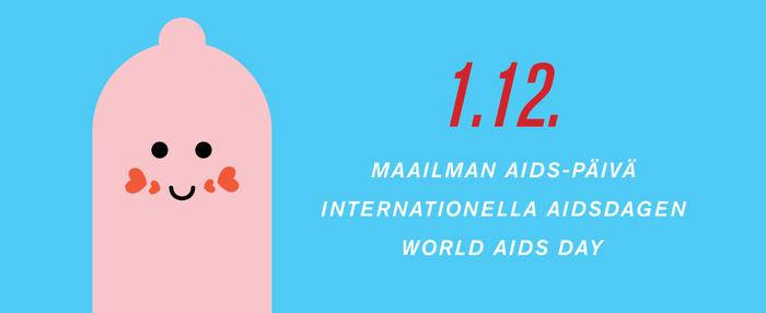 maailman aids päivä pinkillä kondomipiirroshahmolla
