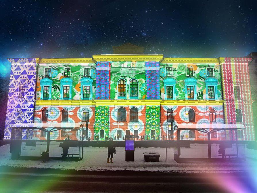 Havainnekuva kaupungintalon Colored Mosaic -valaistuksesta.
