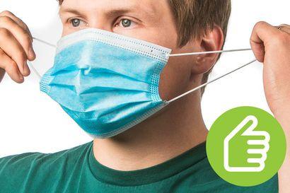 Näin käytät kasvomaskia – Maski on aseteltava kasvoille aina puhtain käsin, eikä sitä saa kosketella käytön aikana