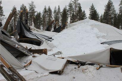 Varastohalli romahti Taivalkoskella torstai-iltana – syynä todennäköisesti lumen paino