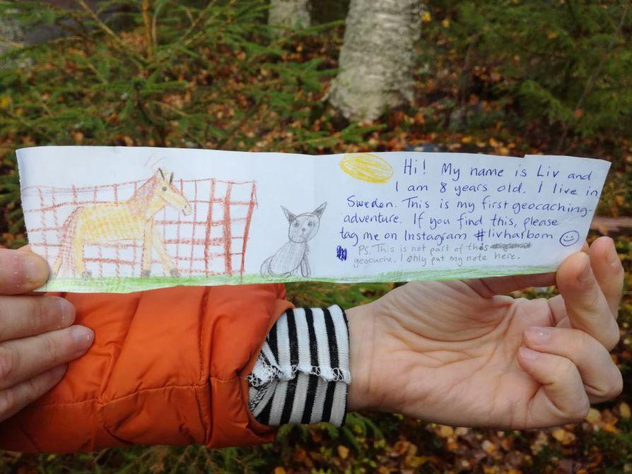 Yksi työllistetyistä suunnitteli Iihin kahdeksan geokätköä. Sieltä löytyi syksyllä 8-vuotiaan ruotsalaistytön kirje kätkijälle. Tyttö kertoo olleensa ensi kertaaharrastamassa geokätköilyä, ja paikaksi valikoitui Iihin piilotettu kätkö.