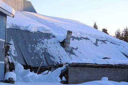 Runsaat lumisateet koettelevat rakennuksia Inarissa: lumikuorma romahdutti osan teollisuushallin kattoa – viikkoa aiemmin lyhistyi varastohalli