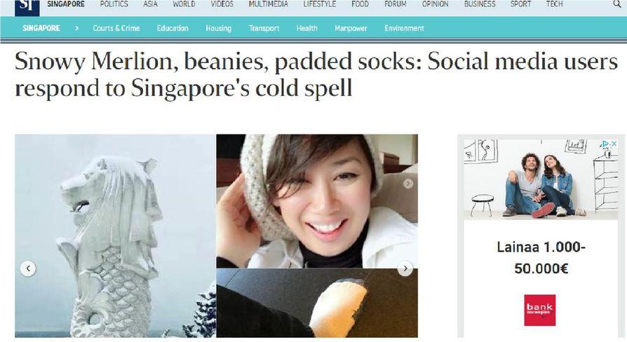 Singaporelaiset ovat äityneet vitsailemaan sosiaalisessa mediassa poikkeuksellisen kylmästä kelistä.