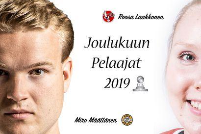 Roosa Laakkonen ja Miro Määttänen lentopallon Mestaruusliigan joulukuun pelaajat