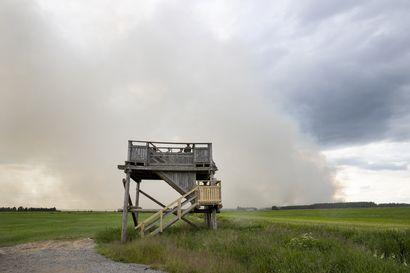"""Muhoksen mittavaa metsäpaloa sammutetaan todennäköisesti huomiseen asti – palopäällikkö: """"Suurin metsäpalo 40-vuotisen urani aikana"""""""