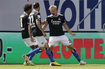 Joel Pohjanpalo iski jälleen mutta HSV romahti Heidenheimia vastaan lisäajalla ja pullahti ulos nousukarsintapaikalta