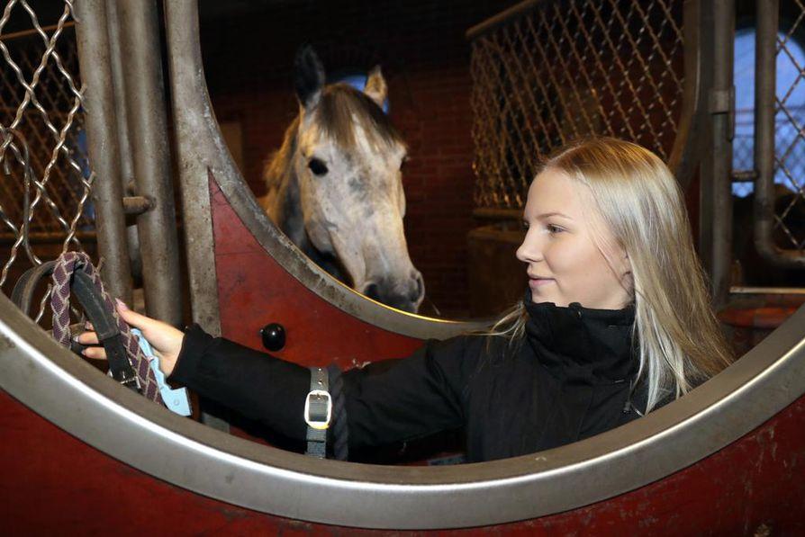 """Pohjoisen visiitillään Ida-Lotta Nousiainen ehti piipahtaa tutulla tallilla Kiimingin Ratsastuskeskuksessa. """"Karuso on ollut täällä yhtä kauan kuin minäkin"""", ratsastaja tervehti tuttua hevosta. Oma ratsu Cidurmie viettää ansaittua talvilomaa kotitallilla Janakkalassa."""""""