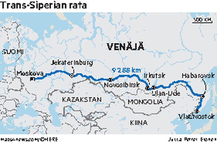 Moskovasta Vladivostokiin matkustaa junalla liki viikon, mutta matkan voi helposti pilkkoa myös useampaan lyhyempään pätkään.