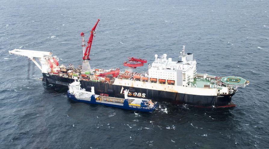 Putkilinjaa on rakennettu kuin tilkkutäkkiä Suomen, Ruotsin, Saksan ja Venäjän vesillä. Kuva lokakuulta.