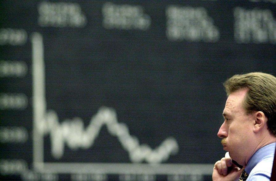 Kurssit niiasivat myös Euroopassa, kuva on Frankfurtin pörssistä.