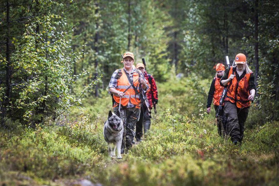 Kaikista metsästyskortin haltijoista noin seitsemän prosenttia on naisia. Ala-Ounasjoen Erästäjistä heitä löytyy useampia. Eturivissä kulkevat Johanna Erholtz ja Tiina Kovala. Hirvimetsällekin pääsee periaatteessa lähes pelkällä naisporukalla.