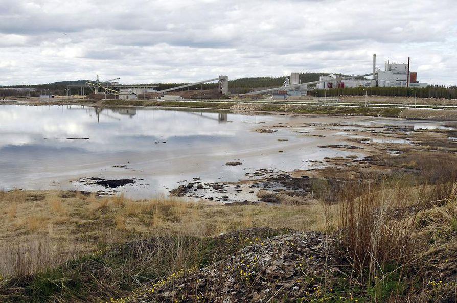 Tältä näytti Kemijärven sellutehtaan kiistelty jäteallas keväällä 2008. Jätealtaan puhdistamisesta on kiistelty jo 11 vuotta. Kuva: Pekka Aho