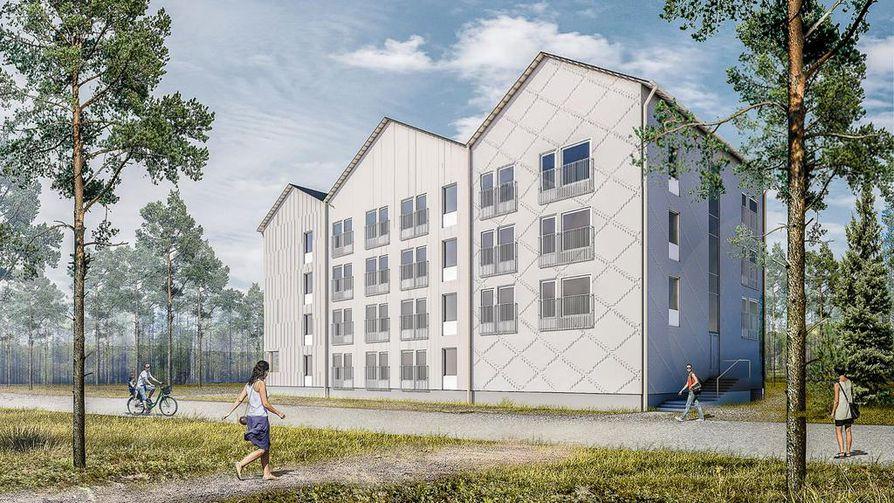 Kolmiharjainen betonitalo on poikkeava ilmestys Kempeleessä.