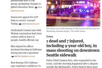 Yksi ihminen kuoli ja seitsemän loukkaantui ampumisessa pikaruokaravintolan edessä Seattlessa ruuhka-aikaan – kahta ampujaa etsitään