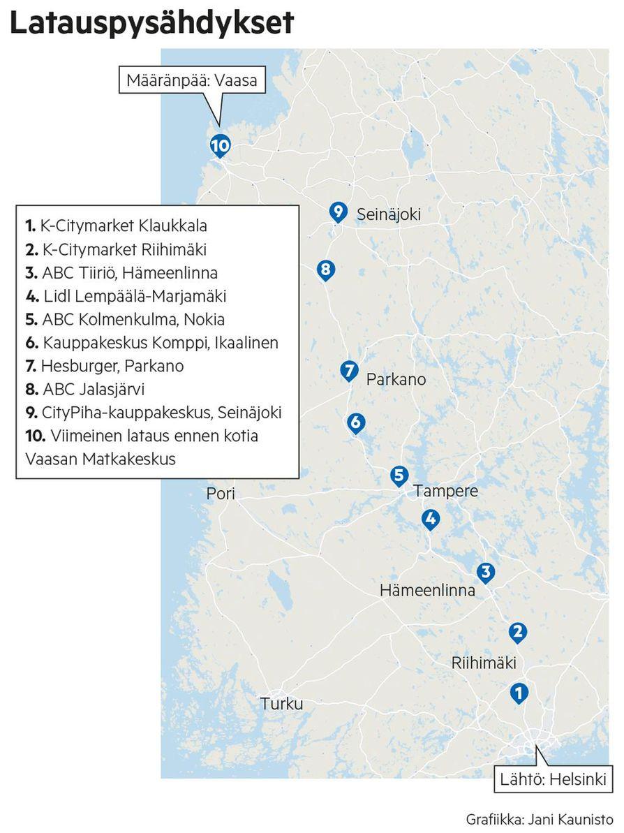 Näin monta latauspysähdystä matka Helsingistä Vaasaan sisälsi. Harhautumiset ja turhat pysähdykset eivät edes ole kartalla.