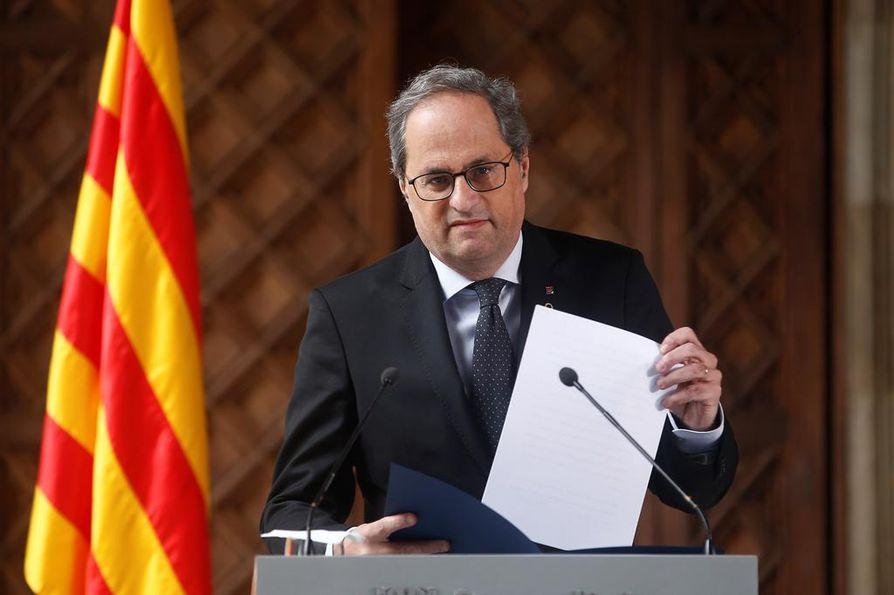 Katalonian aluejohtaja Quim Torra ilmoitti uusintavaalista keskiviikkona.