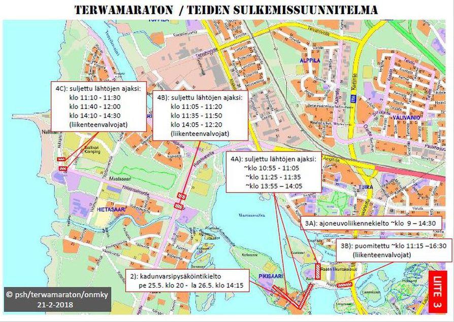 Terwamaraton juostaan perinteisesti Oulujokivarressa.