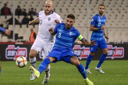 Huuhkajat päätti EM-karsinnat tappioon, Kreikka voitti 2-1 – häviö tietää paikkaa arvonnan neloskorissa