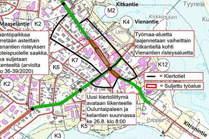 Uusi kiertoliittymä avattu liikenteelle Ouluntaipaleen ja Kelantien suunnassa